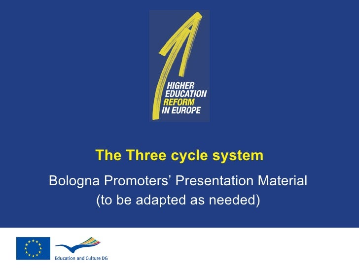 The Three cycle system Bologna Promoters' Presentation Material (to be adapted as needed)