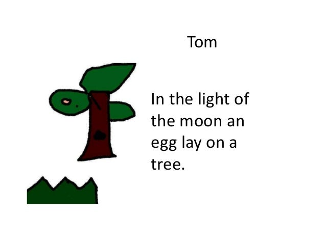 Tom In the light of the moon an egg lay on a tree.