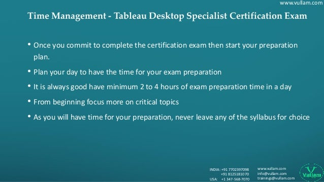 Time Management of Tableau Desktop Specialist Exam