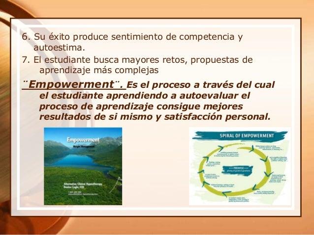 6. Su éxito produce sentimiento de competencia y autoestima. 7. El estudiante busca mayores retos, propuestas de aprendiza...