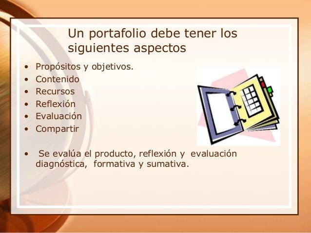 Un portafolio debe tener los siguientes aspectos • Propósitos y objetivos. • Contenido • Recursos • Reflexión • Evaluación...