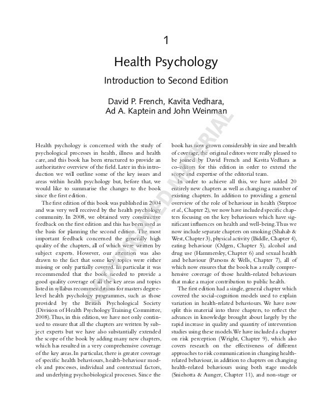 1 Health Psychology Introduction to Second Edition David P. French, Kavita Vedhara, Ad A. Kaptein and John Weinman Health ...