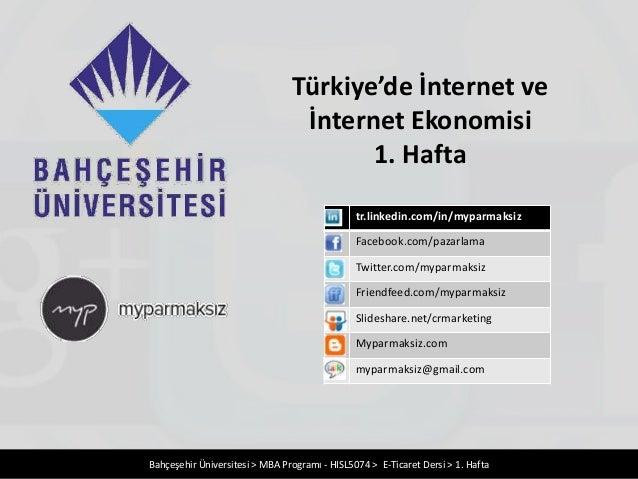 Türkiye'de İnternet ve                                 İnternet Ekonomisi                                       1. Hafta  ...