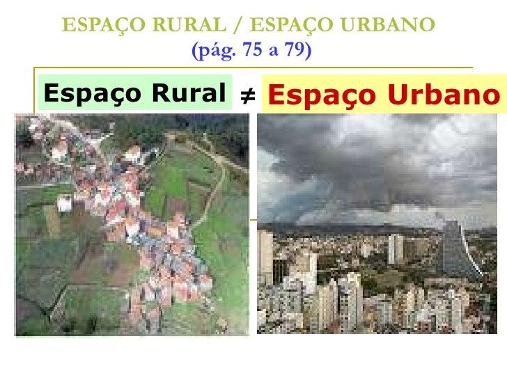 ESPAÇO RURAL / ESPAÇO URBANO   (pág. 75 a 79) Espaço Urbano ≠ Espaço Rural