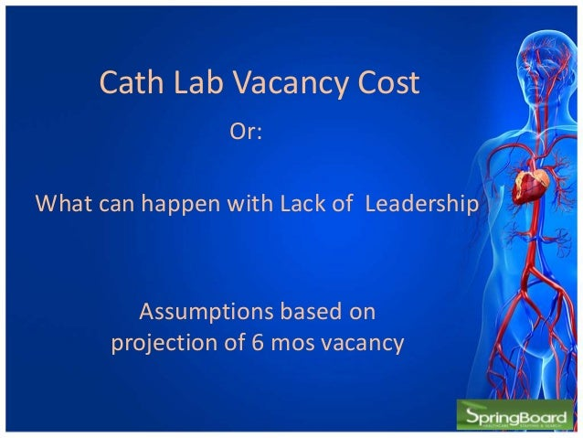 Cath Lab Vacancy CostAssumptions based onprojection of 6 mos vacancyWhat can happen with Lack of LeadershipOr: