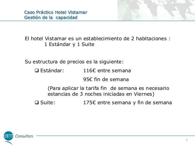 Caso Práctico Hotel Vistamar Gestión de la capacidad  El hotel Vistamar es un establecimiento de 2 habitaciones : 1 Estánd...