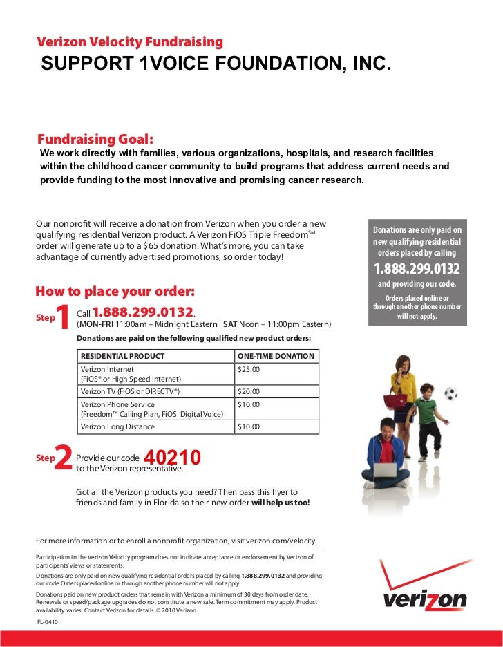 verizon velocity fundraising support 1voice foundation incfundraising goal we work directly with