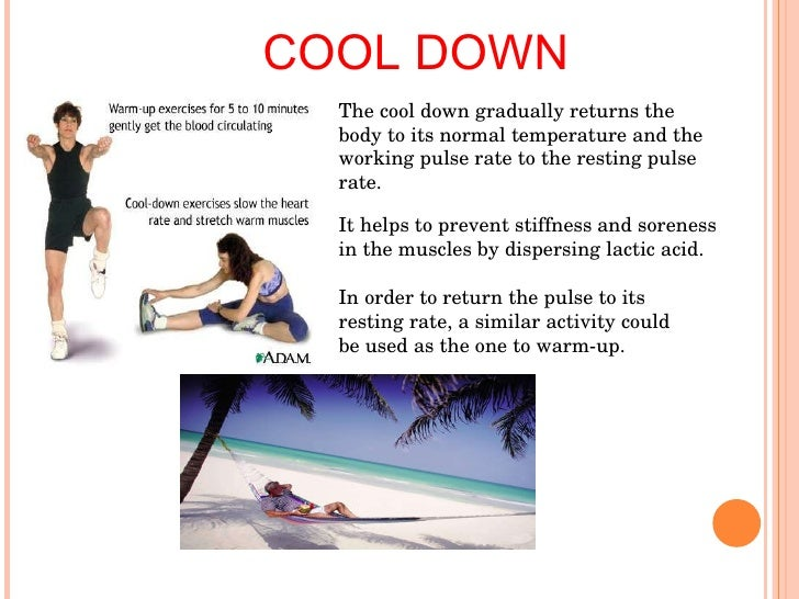 warm up/ cool down essay Along with beginning with a warm-up activity, it is important that teachers and  coaches have their students end their lesson/practice with a cool-down activity as .