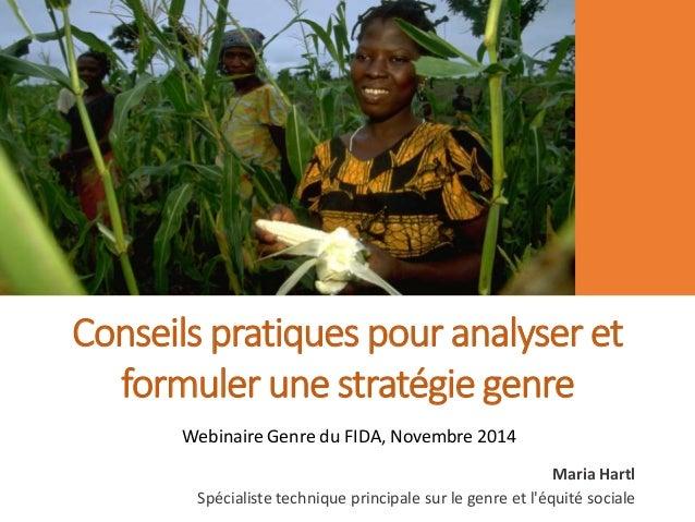 Conseils pratiques pour analyser et  formuler une stratégie genre  Webinaire Genre du FIDA, Novembre 2014  Maria Hartl  Sp...