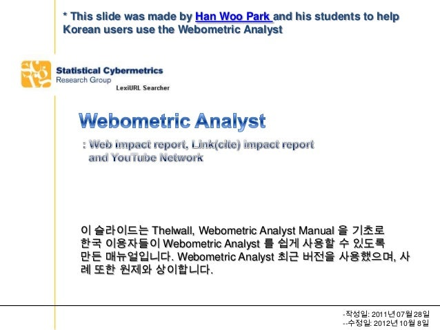 * This slide was made by Han Woo Park and his students to helpKorean users use the Webometric Analyst   이 슬라이드는 Thelwall, ...
