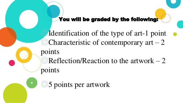 You will be graded by the following: ◎Identification of the type of art-1 point ◎Characteristic of contemporary art – 2 po...