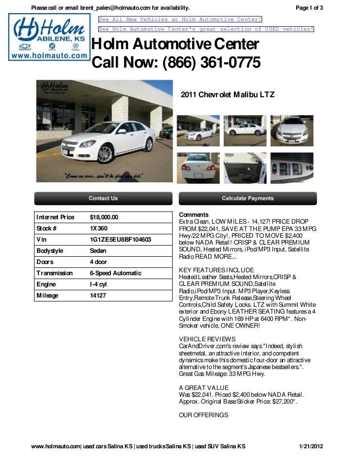 USED Chevrolet Malibu Salina KS Holm Automotive Center X - Holm chevrolet