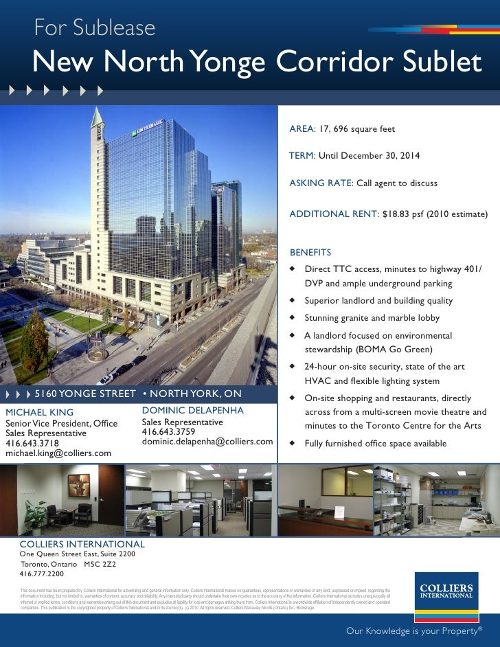 For Sublease           New North Yonge Corridor Sublet                                                                    ...