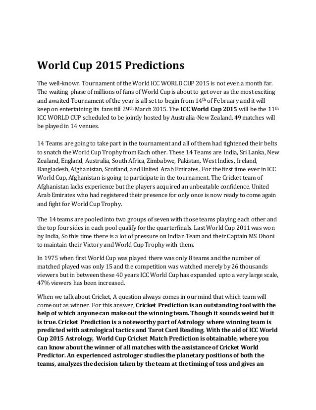 ICC World Cup 2015 Astrology
