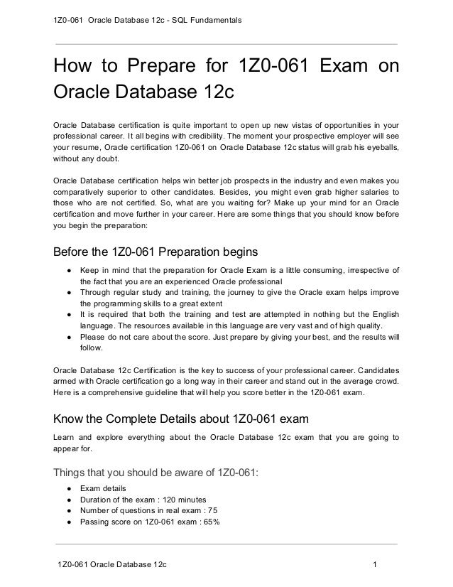 1z0 061 Exam Guide And How To Pass Exam On Oracle Database 12c Sql
