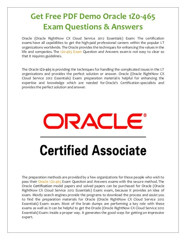Oracle 1z0 465 Exam Questions Answers Free Pdf Demo