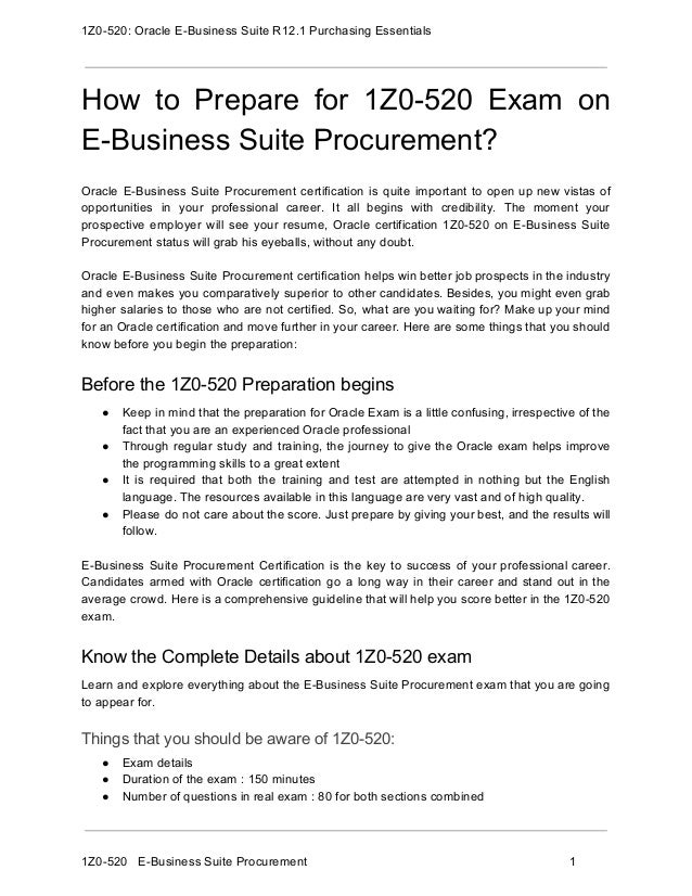 1z0 520 Exam Guide And How To Crack Exam On E Business Suite Procurem
