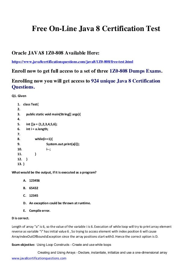 1z0 808 Certification Questions Sample