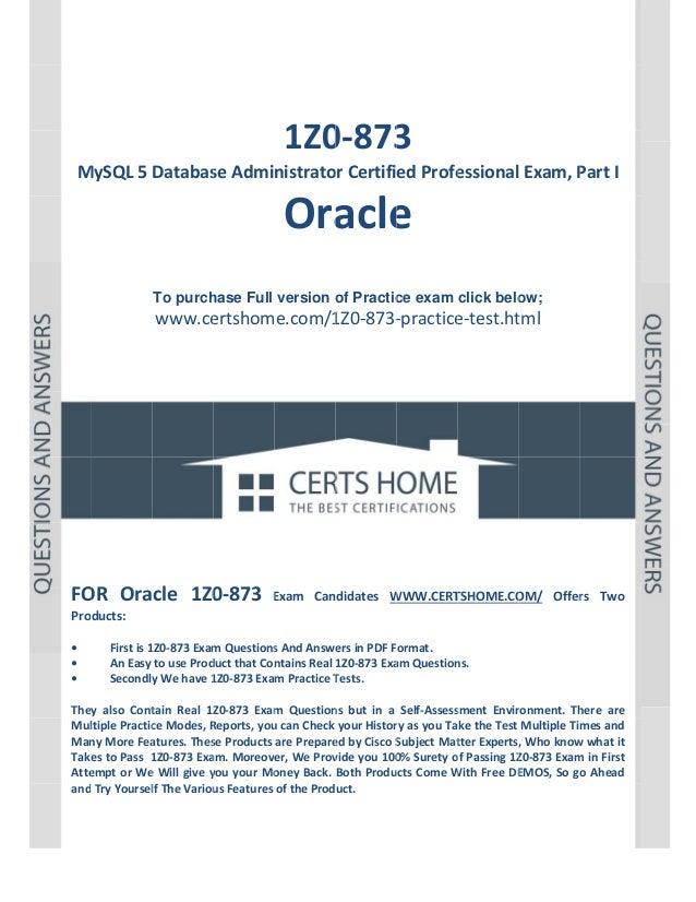P a g e  1             1Z0 3 0‐873  MySQL5Databas M seAdministrato orCertifiedProfe essionalExam,P Pa...