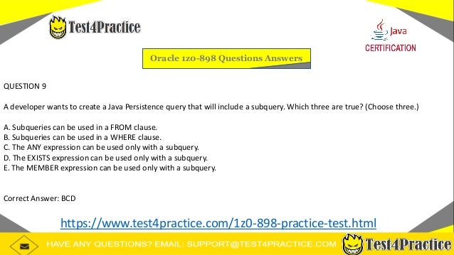 Oracle 1z0-898 Actual Exam Question Answers