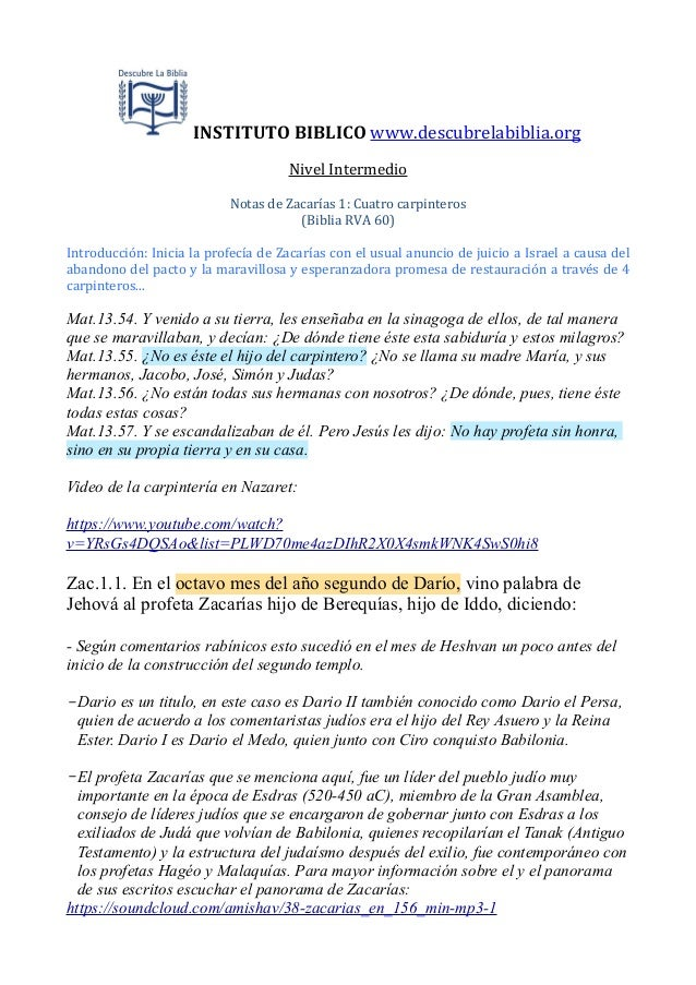 INSTITUTO  BIBLICO  www.descubrelabiblia.org Nivel  Intermedio Notas  de  Zacarías  1:  Cuatro  carpintero...