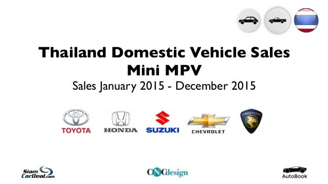 Thailand Domestic Vehicle Sales Mini MPV Sales January 2015 - December 2015