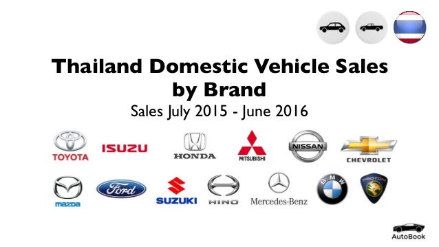 Thailand Domestic Vehicle Sales by Brand Sales July 2015 - June 2016