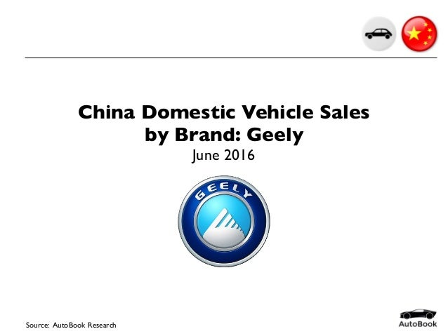 China Domestic Vehicle Sales by Brand: Geely June 2016 Source: AutoBook Research