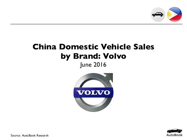 China Domestic Vehicle Sales by Brand: Volvo June 2016 Source: AutoBook Research