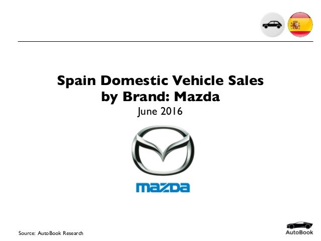 Source: AutoBook Research Spain Domestic Vehicle Sales by Brand: Mazda June 2016