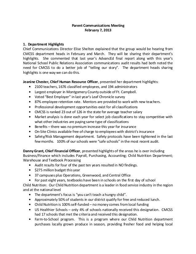 Parent Communications Meeting                                       February 7, 20131. Department HighlightsChief Communic...