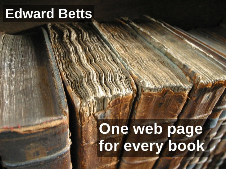 One web page for every book Edward Betts