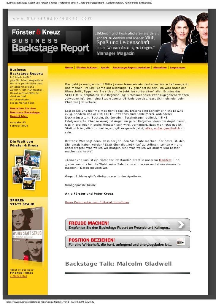 Business-Backstage-Report von Förster & Kreuz | Vordenker einer n...haft und Management | Leidenschaftlich. Kämpferisch. E...