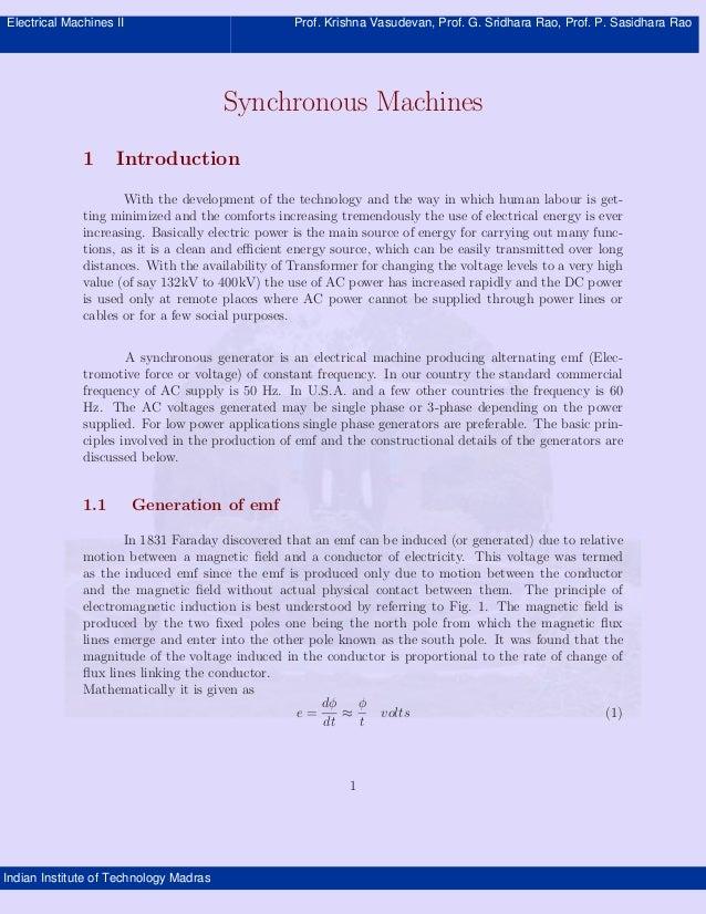 Electrical Machines II Prof. Krishna Vasudevan, Prof. G. Sridhara Rao, Prof. P. Sasidhara Rao Indian Institute of Technolo...