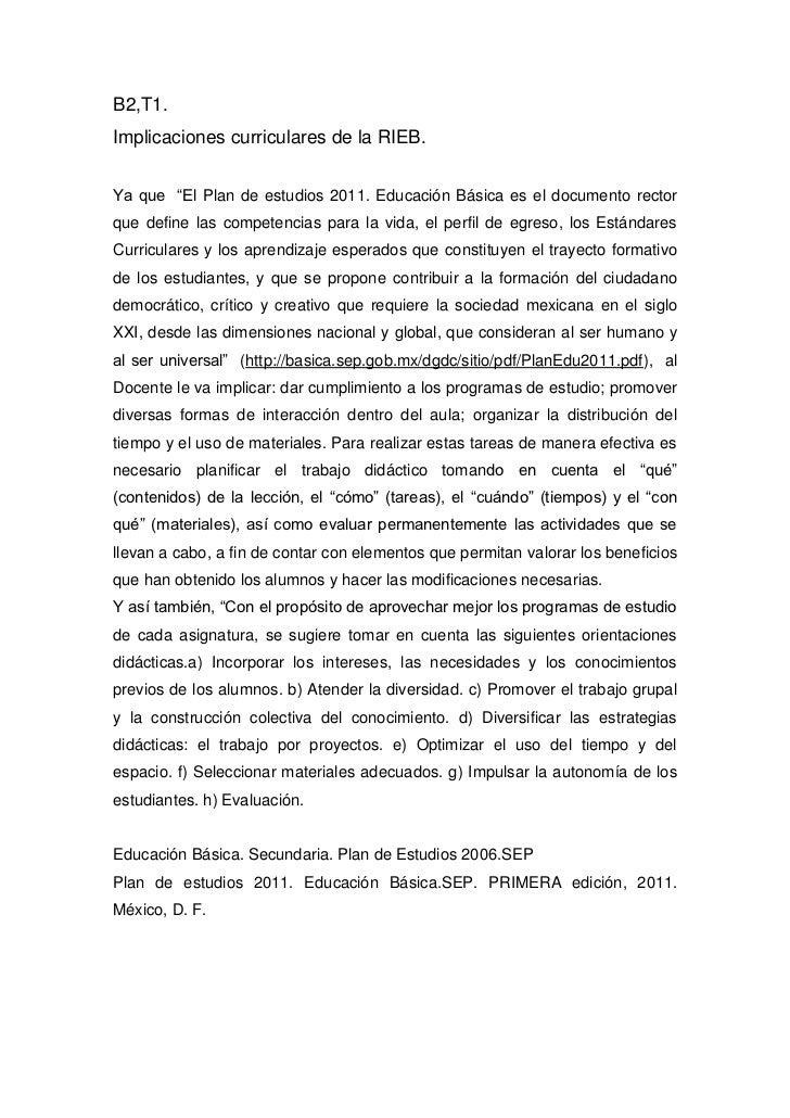 """B2,T1.Implicaciones curriculares de la RIEB.Ya que """"El Plan de estudios 2011. Educación Básica es el documento rectorque d..."""