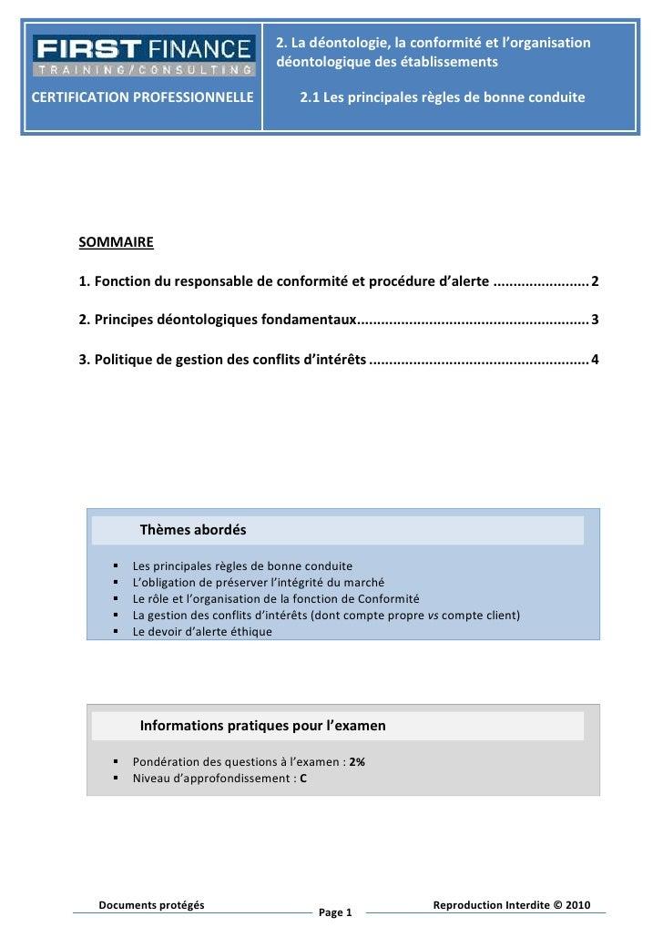2.Ladéontologie,laconformitéetl'organisation                                             déontologiquedesétabliss...