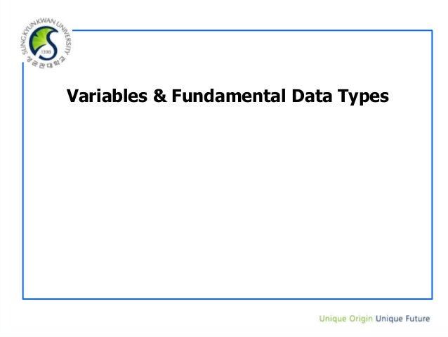 Variables & Fundamental Data Types
