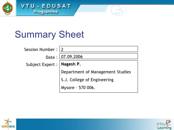 Summary Sheet Session Number : Date : Subject Expert : 2  07.09.2006  Nagesh P. Department of Management Studies S.J. Coll...