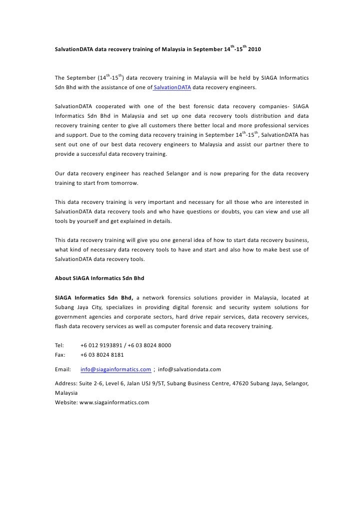 SalvationDATA data recovery training of Malaysia in September 14th-15th 2010<br />The September (14th-15th) data recovery ...