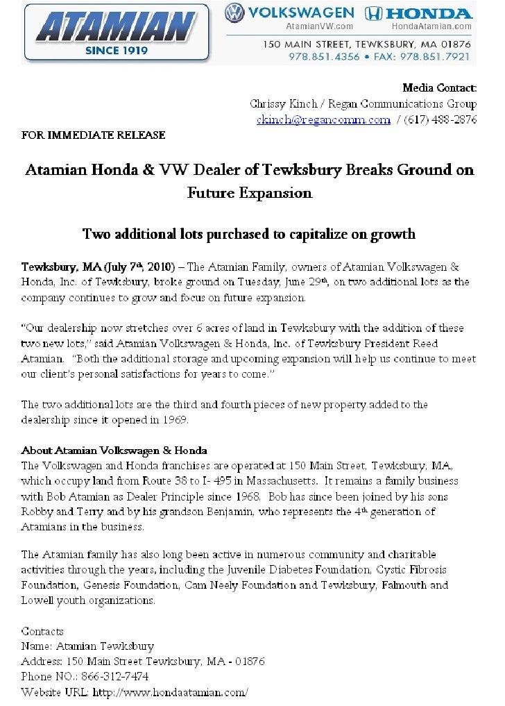Terry Atamian President of Atamian Honda & VW Dealer of Tewksbury Breaks Ground on Future Expansion