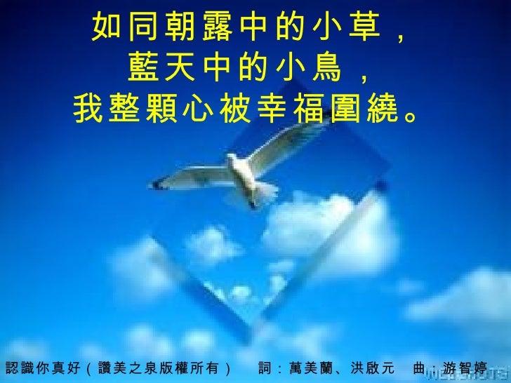 認識你真好 (讚美之泉版權所有)  詞:萬美蘭、洪啟元 曲: 游智婷 如同朝露中的小草, 藍天中的小鳥, 我整顆心被幸福圍繞。