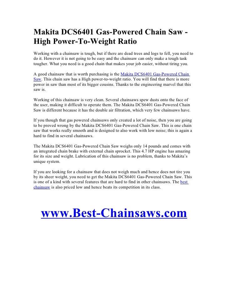 eea2df15d25b Makita DCS6401 Gas-Powered Chain Saw - High Power-To-Weight Ratio