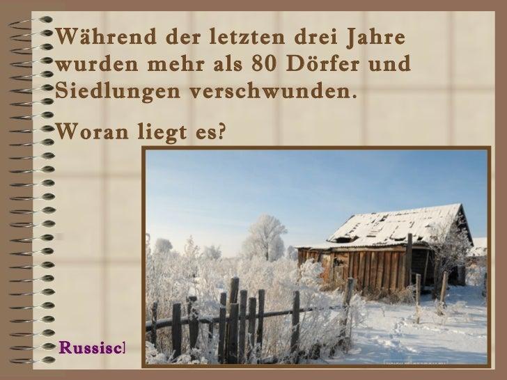 Während der letzten drei Jahre wurden mehr als 80 Dörfer und  Siedlungen verschwunden.  Woran liegt es? Russisch
