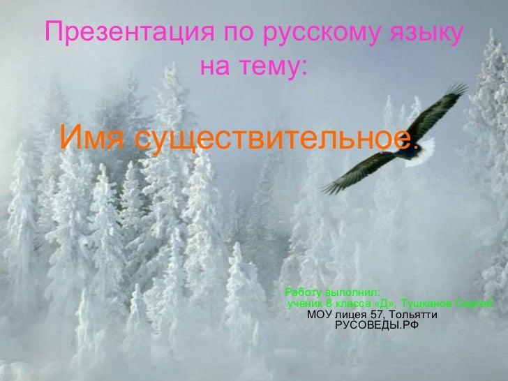 Презентация по русскому языку          на тему: Имя существительное.                Работу выполнил:                ученик...