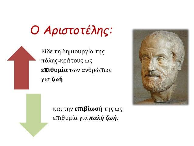 Ο Αριστοτέλης:  Είδε τη δημιουργία της  πόλης-κράτους ως  επιθυμία των ανθρώπων  για ζωή  και την επιβίωσή της ως  επιθυμί...
