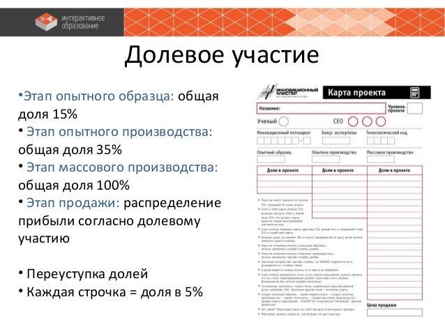 Долевое участие •Этап опытного образца: общая доля 15% • Этап опытного производства: общая доля 35% • Этап массового произ...