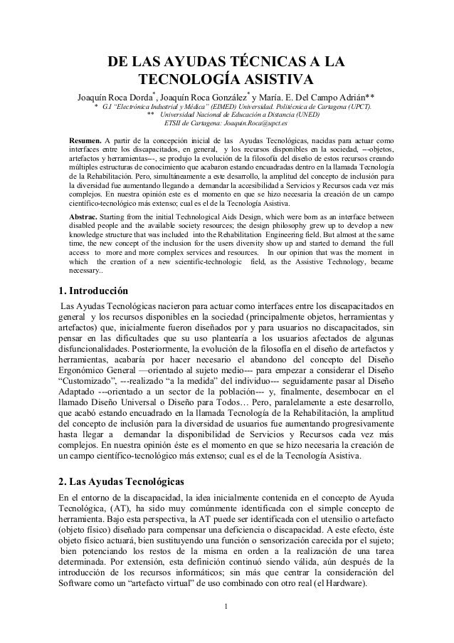 1 DE LAS AYUDAS TÉCNICAS A LA TECNOLOGÍA ASISTIVA Joaquín Roca Dorda* , Joaquín Roca González* y María. E. Del Campo Adriá...