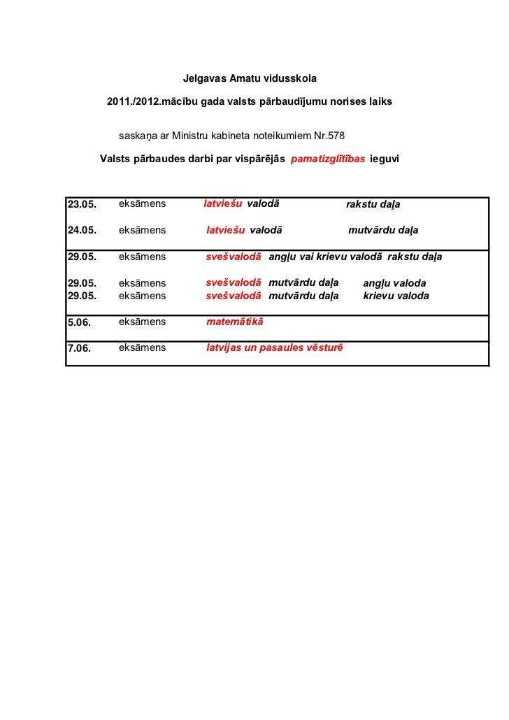 Jelgavas Amatu vidusskola          2011./2012.mācību gada valsts pārbaudījumu norises laiks            saskaņa ar Ministru...