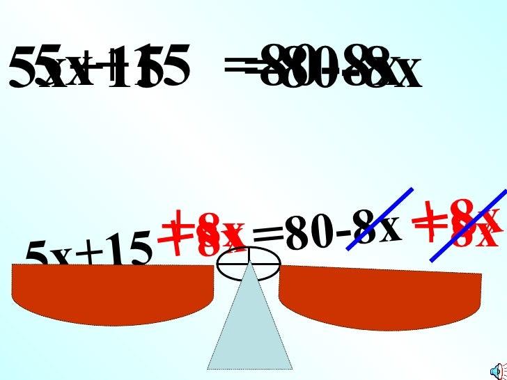5x+15 =80-8x 5x+15 =80-8x      15 +8x =80-         +8x      8x +8x                      8x5x+