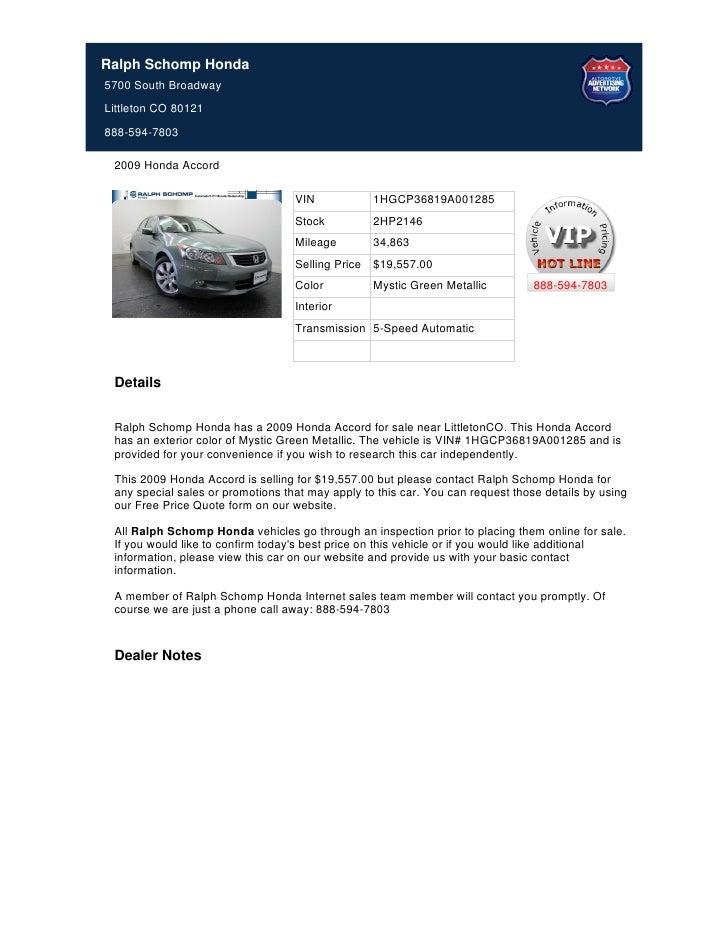 Ralph Schomp Honda >> Used 2009 Honda Accord For Sale Near Denver Co